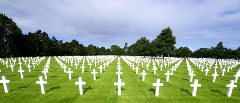 cementerio a los caídos en el desembarco de Normandia