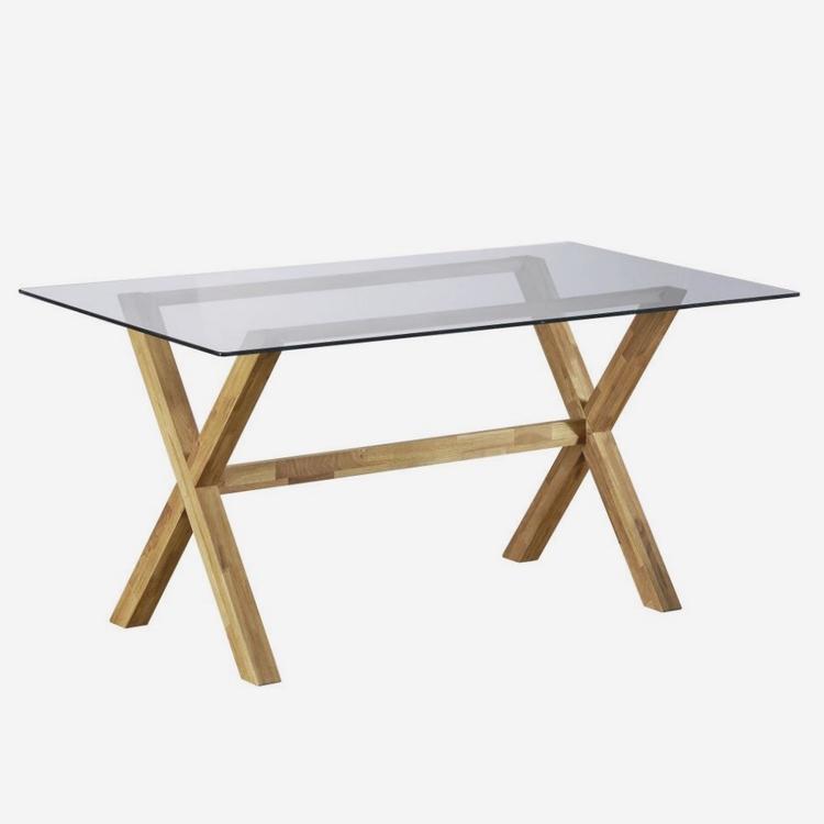mesa de comedor en madera y vidrio